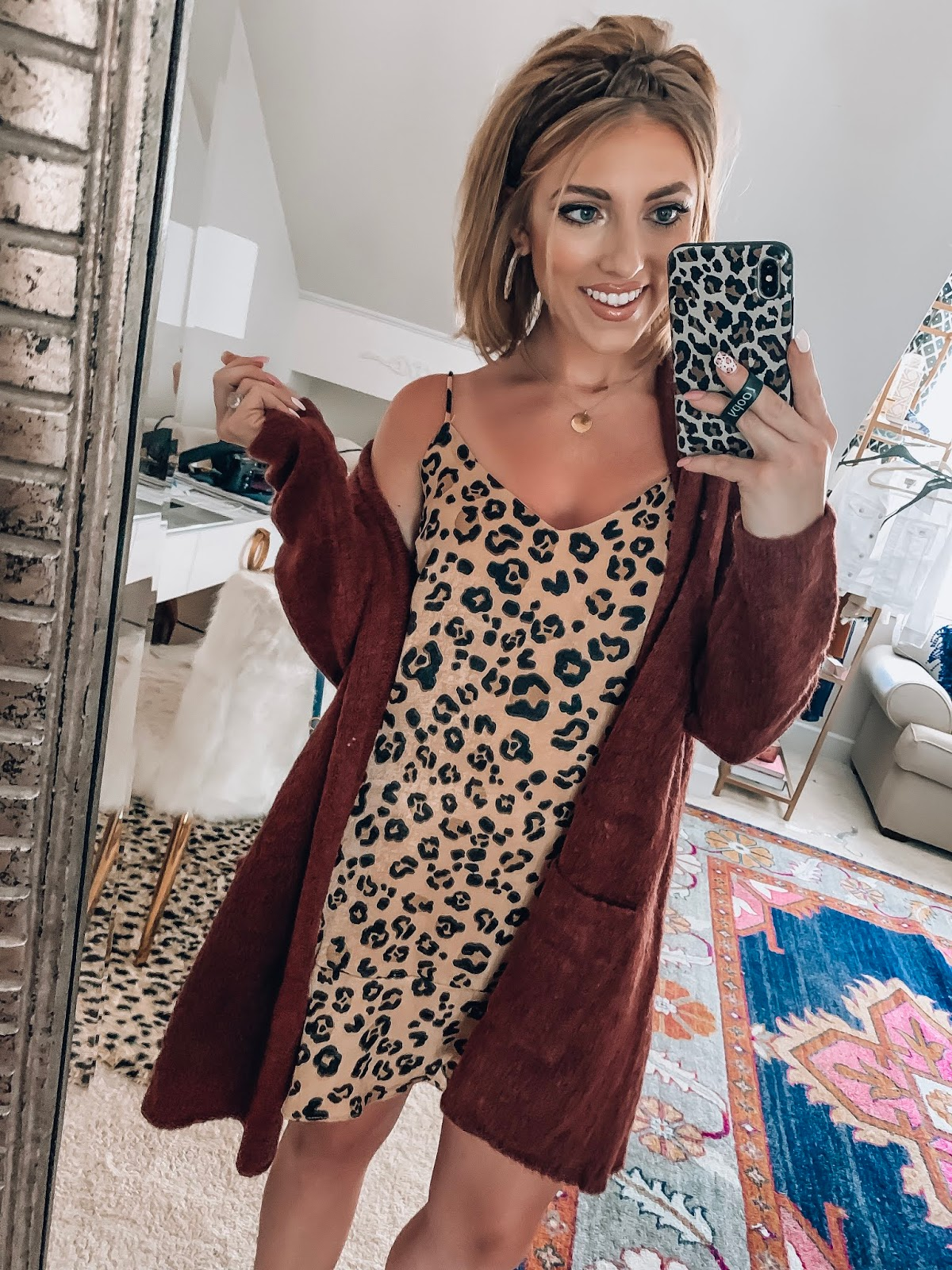 Fall Style: $44 Ruffle Hem Leopard Slip Dress and $48 Burgundy Cardigan // Something Delightful Blog