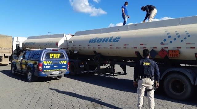 PRF apreende carreta de combustível com nota fiscal fraudada na Chapada Diamantina