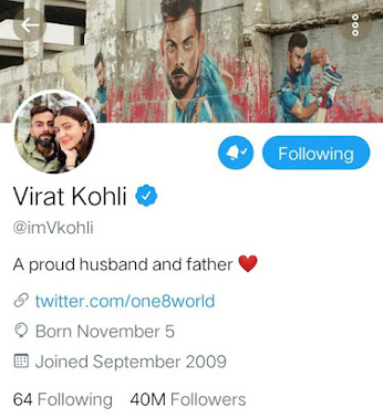 Virat Kohli Makes 'Proud' Upgrade To His Twitter Bio And Fans Adore Him Even More Now