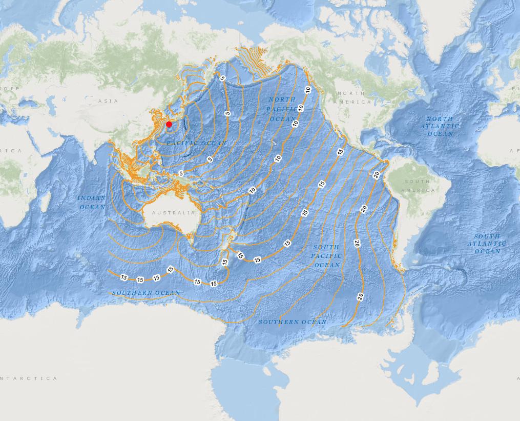 Tsunami travel times to coastal locations vivid maps tsunami travel times to coastal locations gumiabroncs Choice Image