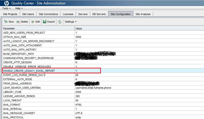 enable create a new excel report option in hp alm learned and shared