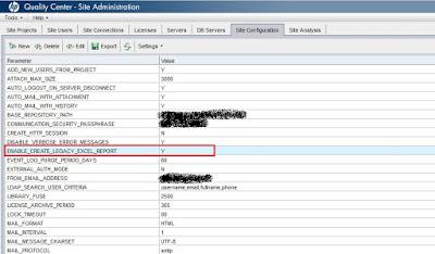ALM: Site Admin Site Configuration Excel Report Parameter