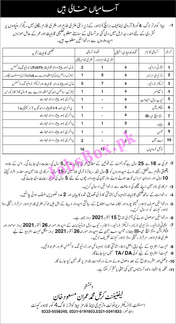 Latest Pakistan Army Civilian Jobs in Pakistan 2021
