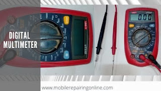digital multimeter measure cell phone circuit electronic resistance, voltage, and current components of a smartphone
