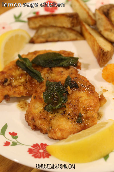 Lemon Sage Chicken // A fancied up fried chicken recipe with tons of bright lemony flavor and delicious sage to top it off #recipe #chicken #sage #lemon