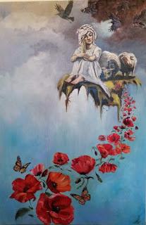 Portrait, Galleriayoellploger, Ayoe, Lise, Lysgaard, Pløger, Menorca pulsar, portrait, woman, poppy,  landskab, landscape,  paint, galleri, colourfull