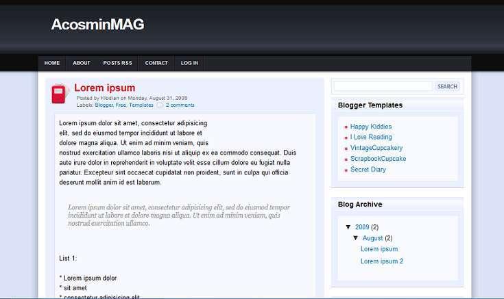 AcosminMag - Magazine Style Blogger Template - Magazine blog