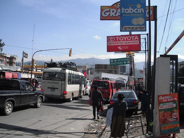 Cuatro Caminos Guatemala chicken buses