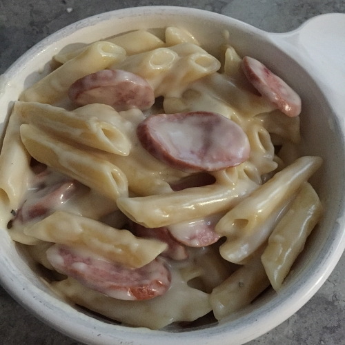 Penne with Italian Cheese & Smoked Sausage