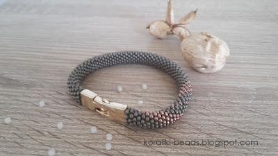 Crochet bracelet cord - coral Toho