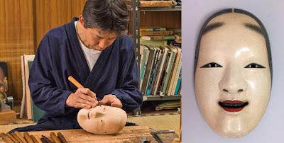 Hideta Kitazawa carves a mask of Frida Kahlo