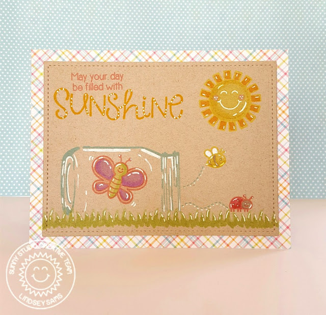 Sunny Studio Stamps: Vintage Jar & Backyard Bugs Sunshine Card by Lindsey Sams.