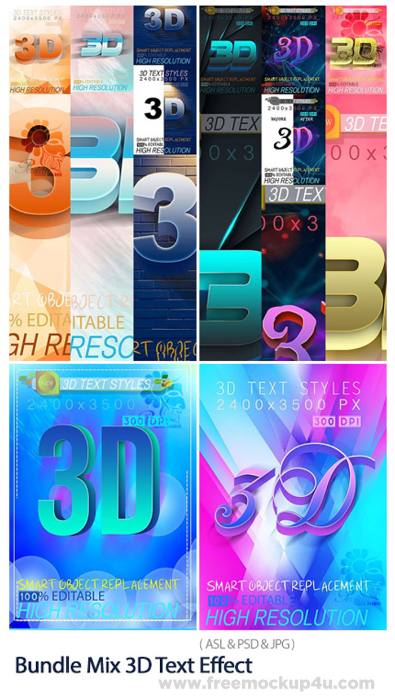 Graphic River Bundle Mix 3D Text Effect Asl Psd Jpg