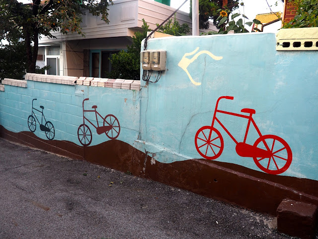 Bicycle street art in the Ji-dong mural village in Suwon, South Korea