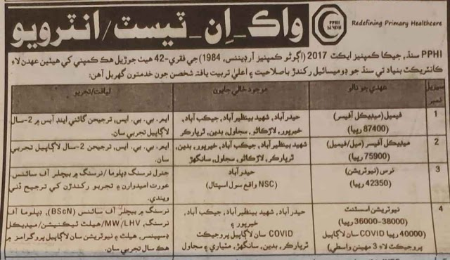 Latest Jobs 2021   Walk-in-Interview For People's Primary Healthcare Initiative (PPHI) Sindh Jobs 2021
