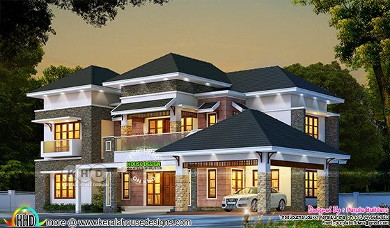 Sloping roof Kerala home design rendering