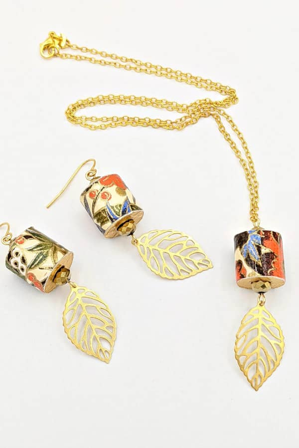 Japanese paper and wood earrings and necklace with brass leaf accents
