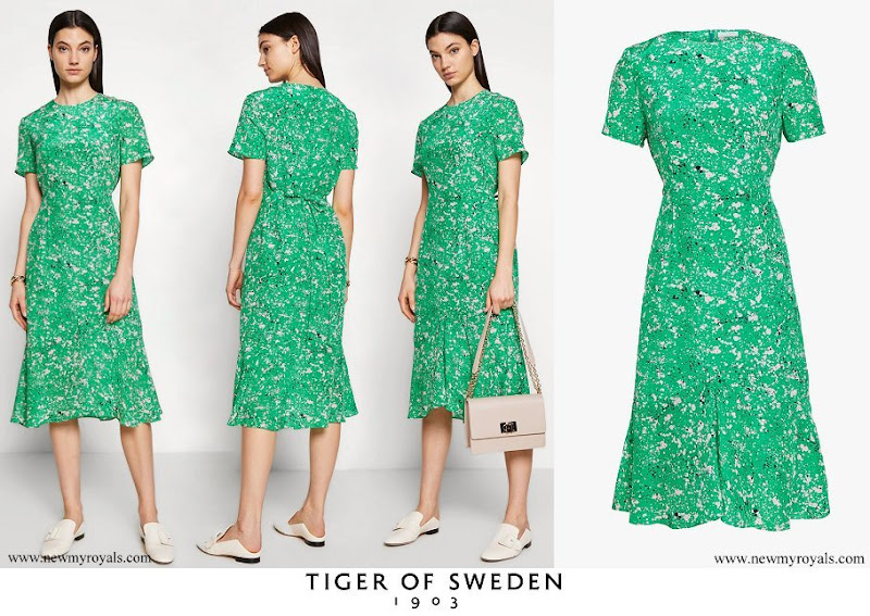 Crown Princess Victoria wore a green floral print dress from Tiger of Sweden