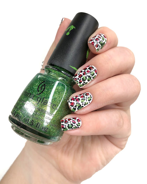Easy Christmas Cheetah Nail Art