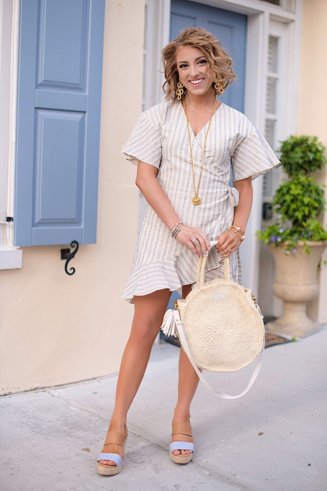 Ivory & Blue Wrap Dress in Charleston, SC. - Something Delightful Blog