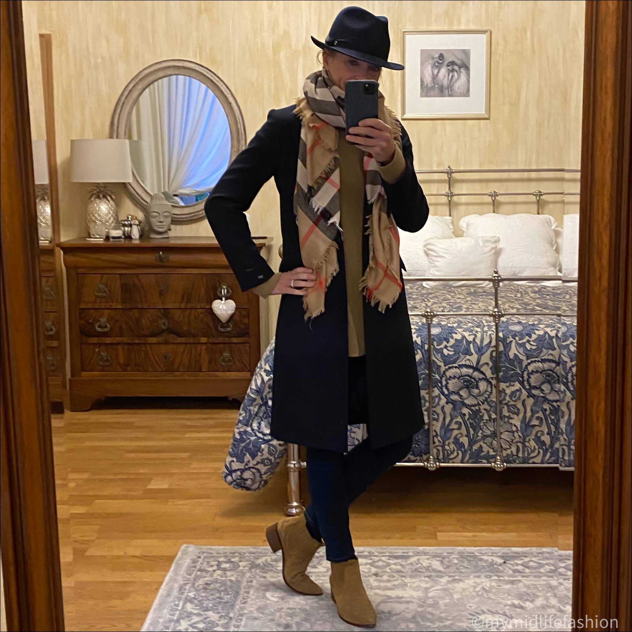 my midlife fashion, baukjen tamara jumper, felt fedora hat, Burberry oversized scarf, Tommy Hilfiger coat, j crew 8 inch toothpick skinny jeans, zara western heel cowboy ankle boots