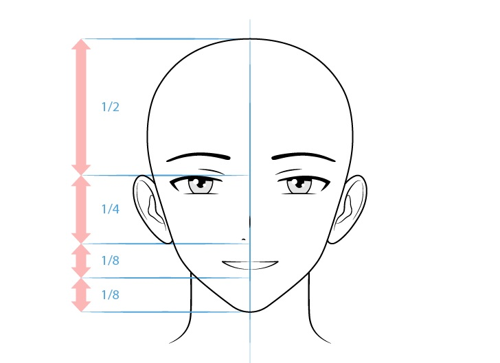 Karakter pria anime menggambar wajah bahagia