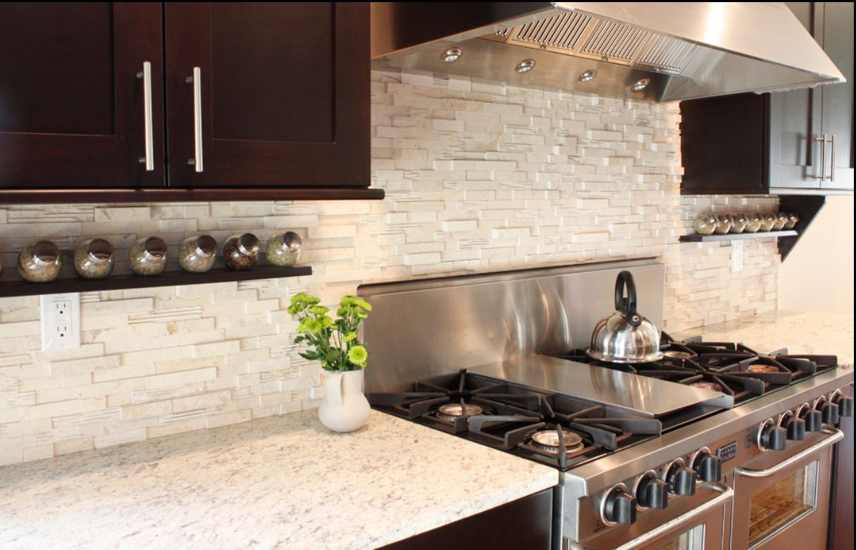 Black Tile Kitchen Countertop