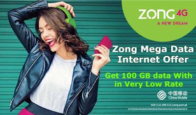 Zong Mega Data Internet Offer Get 100 GB