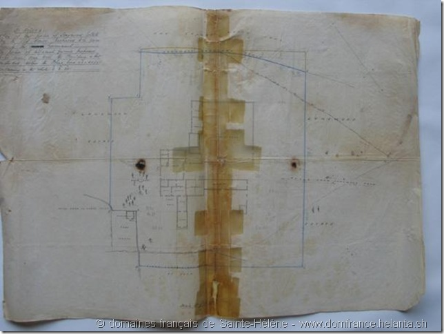 """Plan of Longwood Estate attaché au document N°4 - Surrender of Lease of Longwood Old House by Isaac Moss for £3500 – document joint au bordereau ""31st July 1858 - Colonial Secretary's Office"" – Collection des domaines français de Sainte-Hélène"
