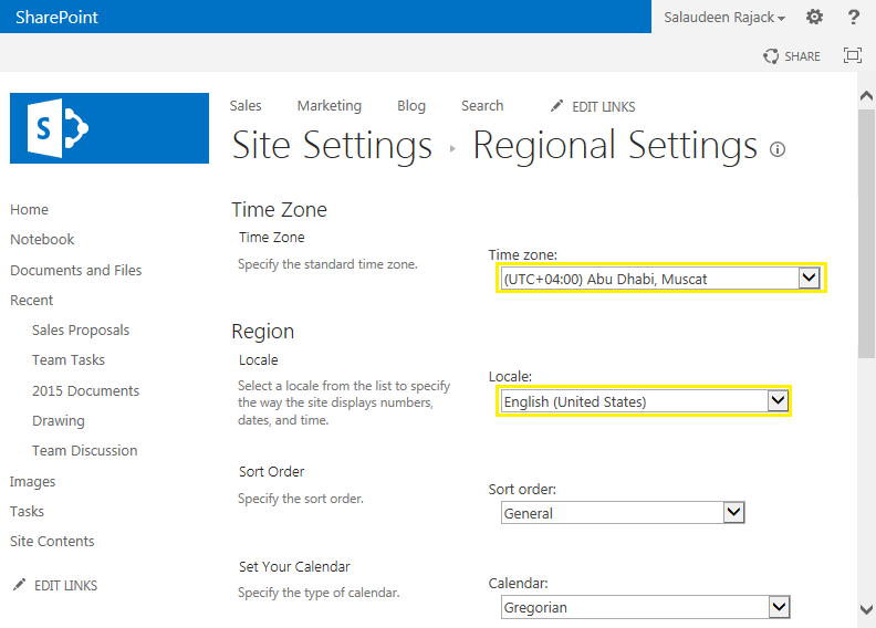 sharepoint 2013 set regional settings