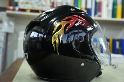 3Dステッカー ファイヤーパターン ヘルメット バイク