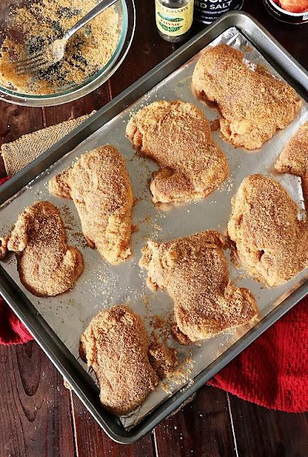 Homemade Shake & Bake Chicken Thighs On Baking Sheet Ready to Bake Image