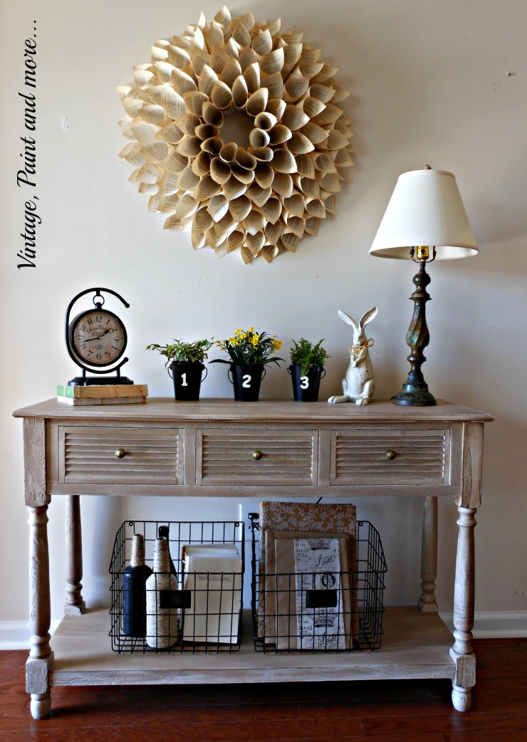 "Vintage, Paint and more... Spring entryway done with vintage finds and crafted ""vintage"" items featuring a book page wreath"