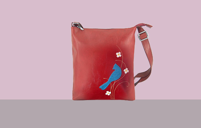 LAVISHY vegan leather bag with bird and flower applique
