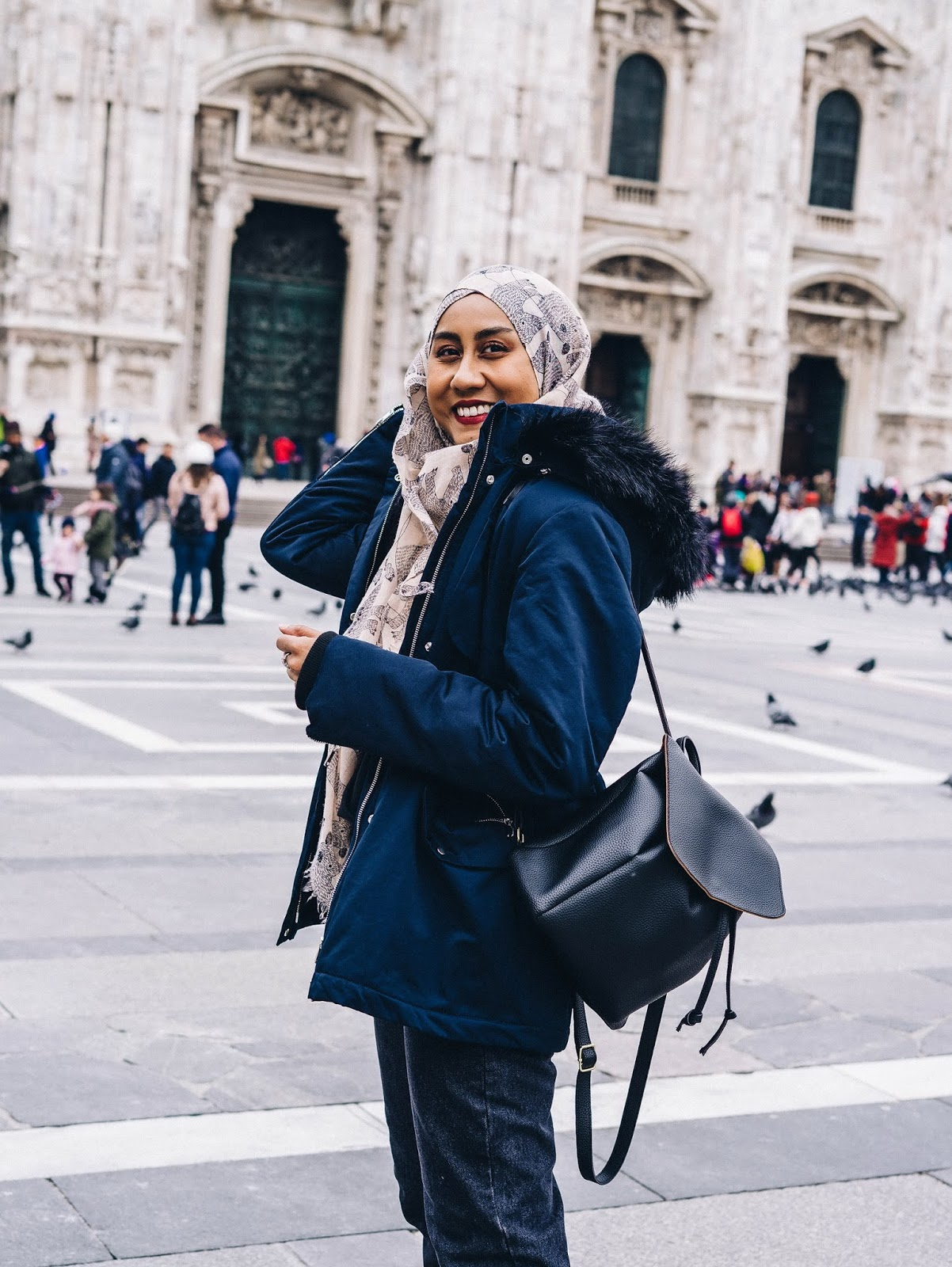 duomo milan winter outfit shoot