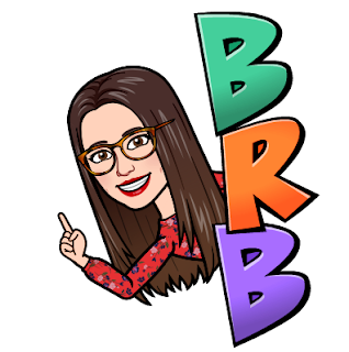 Miss Lawrence's bitmoji avatar, a woman with long brown hair and big glasses, beside the letters BRB, standing for 'be right back'.