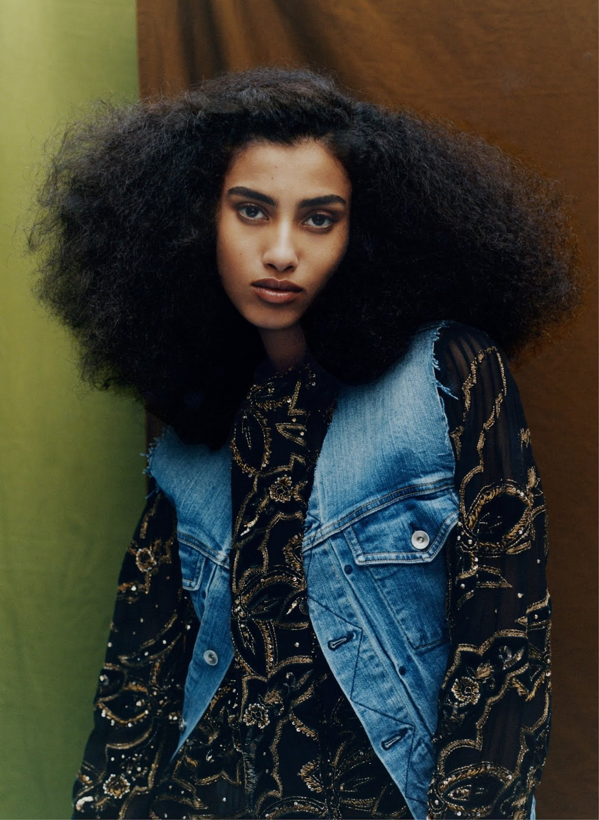Imaan Hammam - Rag & Bone vest. Saint Laurent by Anthony Vaccarello dress.