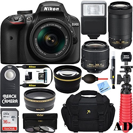 3. Nikon D3400 24.2MP DSLR Camera With AF-P 18-55 VR And 70-300m Lenses