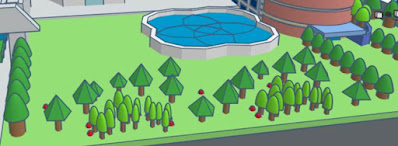 For the trees, use paraboloids, pyramids, and cylinders.