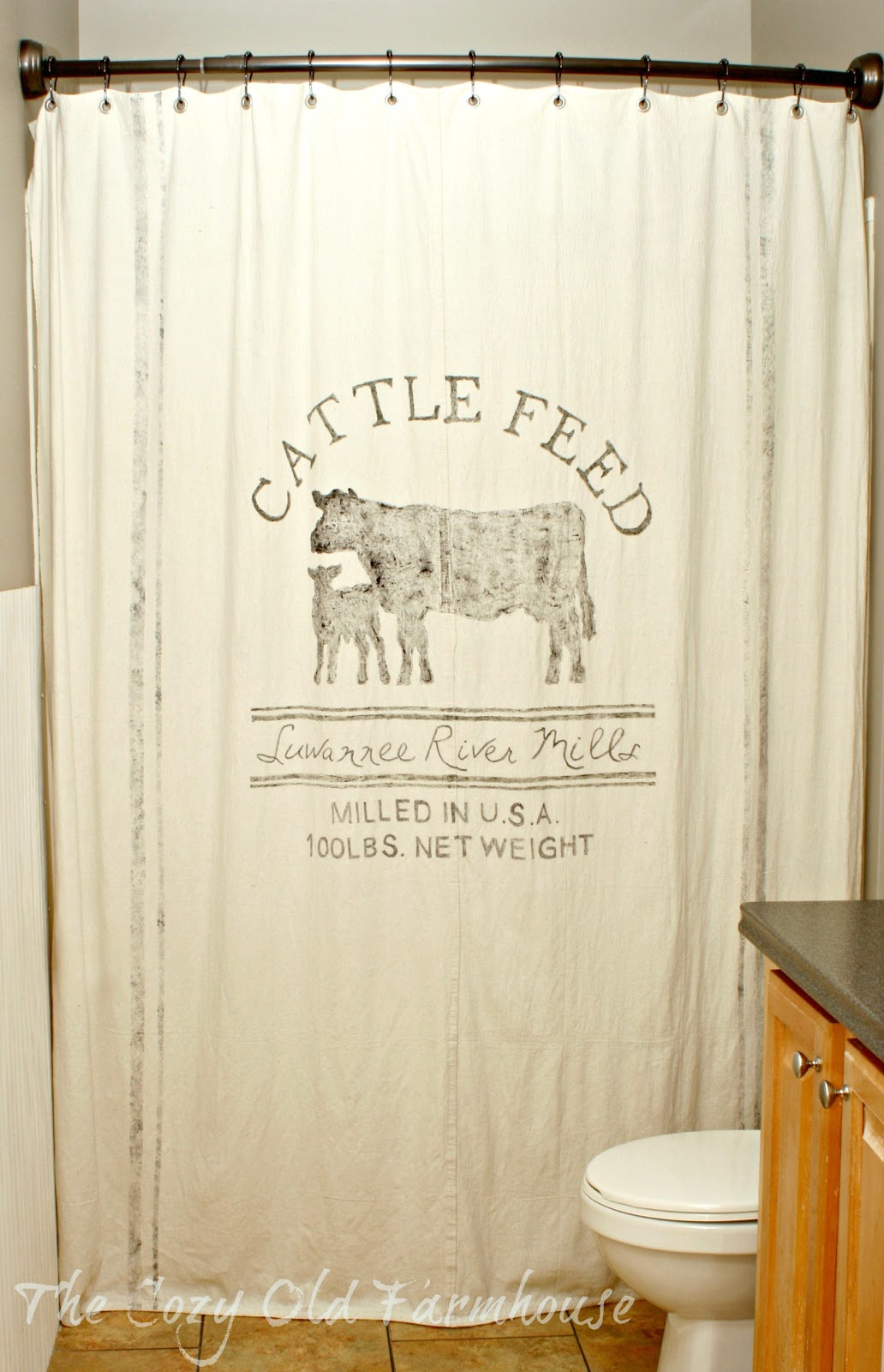 The Cozy Old Farmhouse A Christmas Feed Sack Shower Curtain