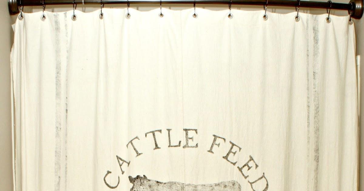 The Cozy Old Farmhouse A Christmas Feed Sack Shower Curtain