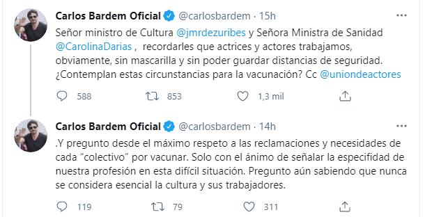 Carlos Bardem pregunta a la ministra de sanidad, Si contemplan vacunar a los artistas?