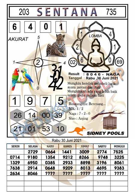 Syair Sentana Sdy Rabu 30-06-2021
