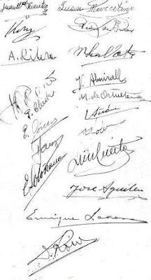 Semifinal del Campeonato de España de Ajedrez de 1935, firma ajedrecistas participantes