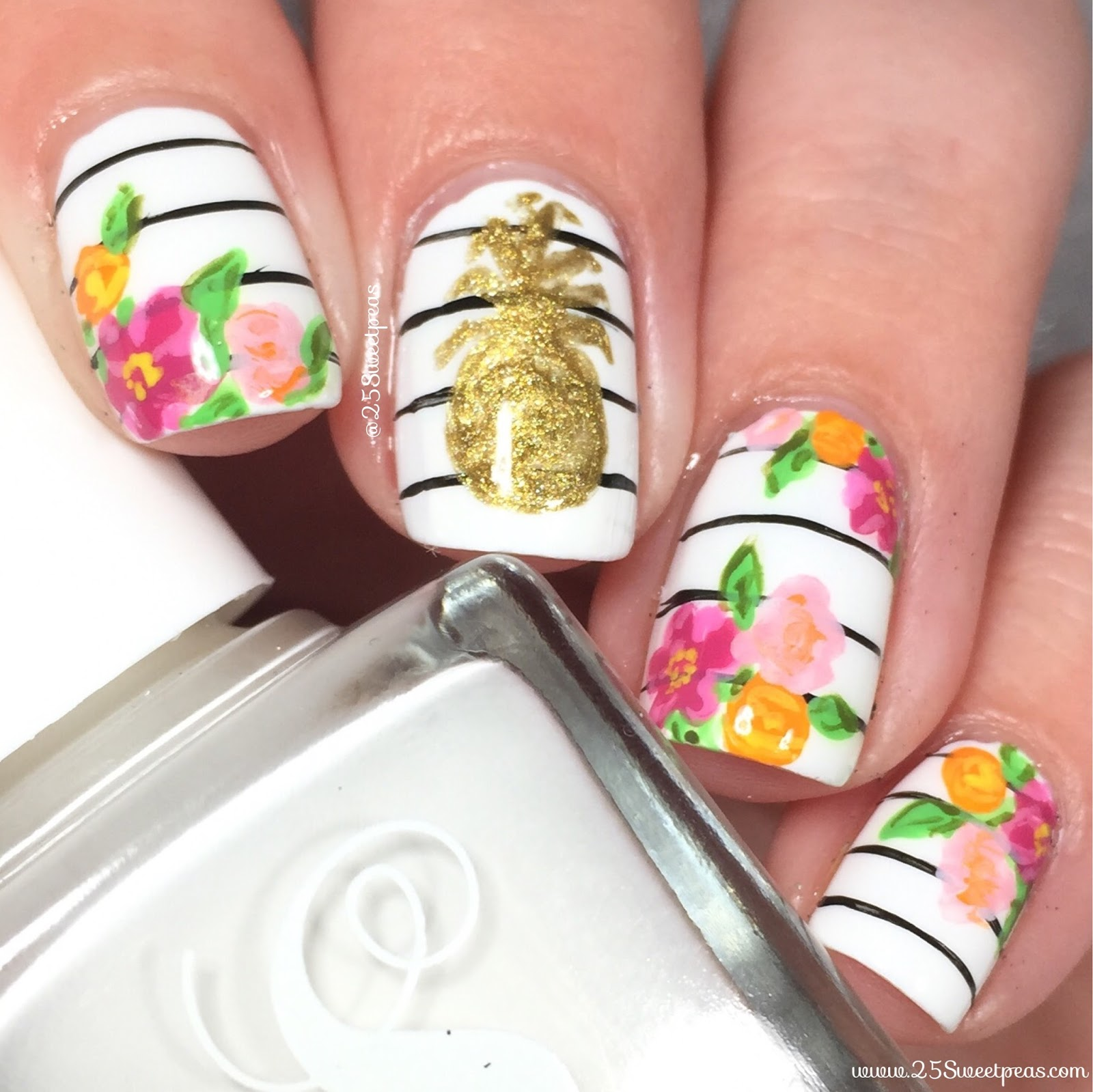 Pineapple Nail Art By 25 Sweetpeas