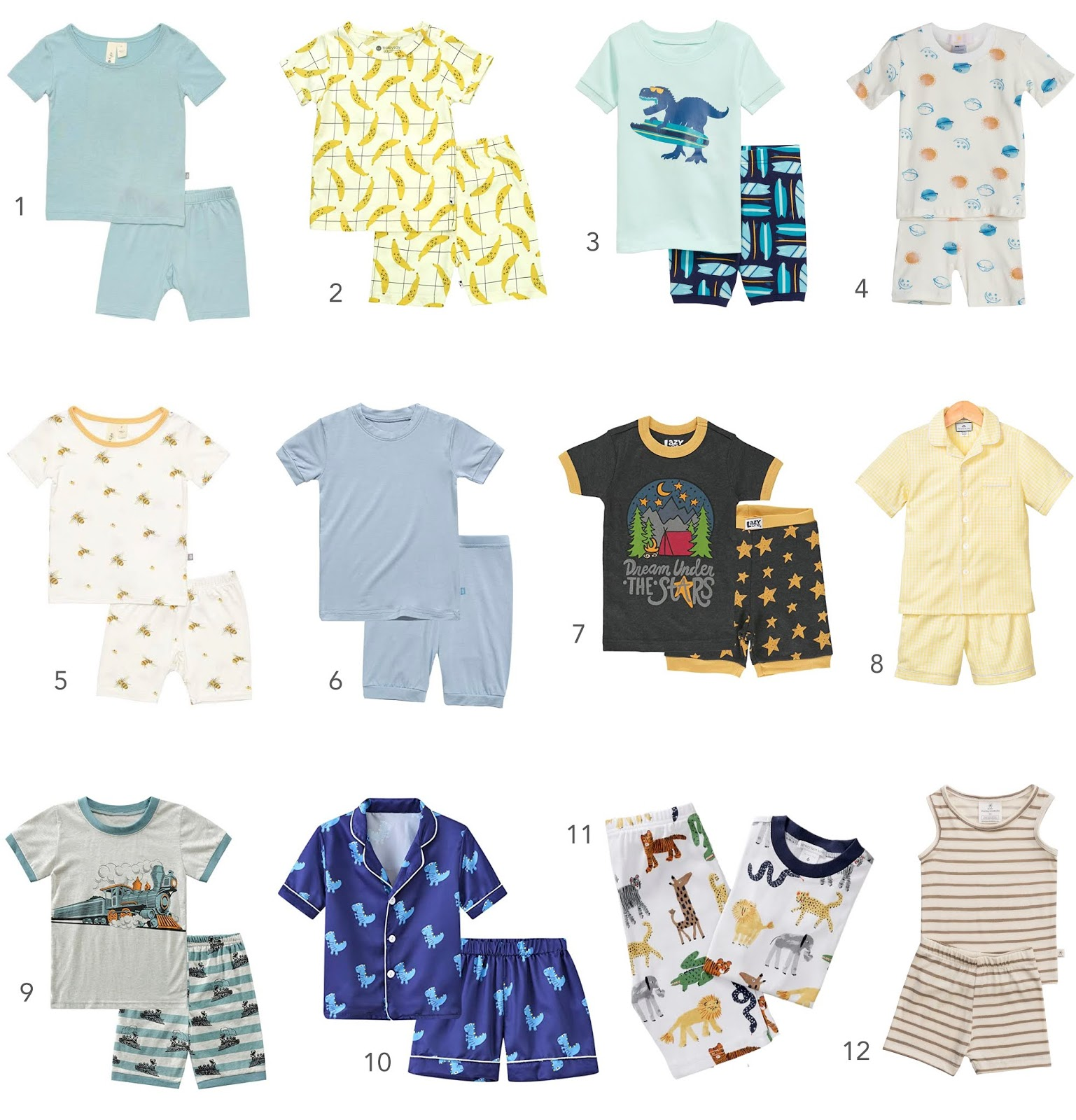 A round-up of 12 cute summer pajamas for boys