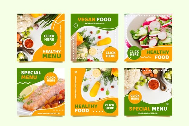 Vegan menu social media post Free Vector Food