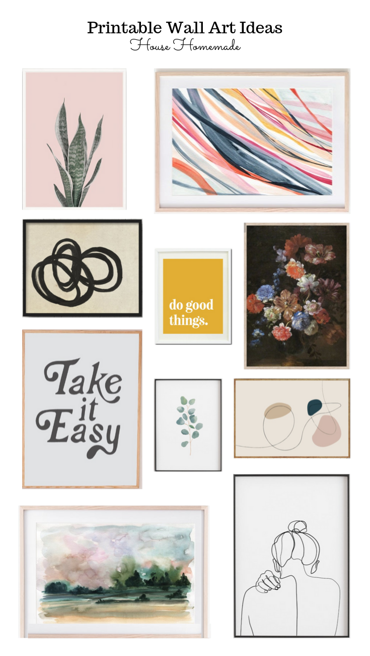 Printable wall art for gallery walls or just to update frames. Reuse a frame or buy a thrifted frame for a budget friendly project.| House Homemade