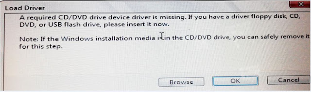 A required CD DVD drive device driver is missing Windows 7