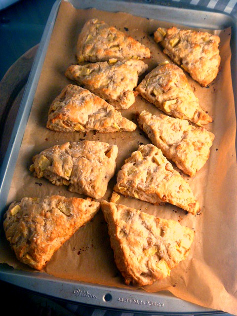 Scones filled with sweet apples and bits of spicy ginger that are soft on the inside, and a little crispy on the outside. The best way to start your day! - Slice of Southern